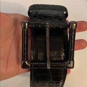 ❤️ MaxMara black and silver croc print belt